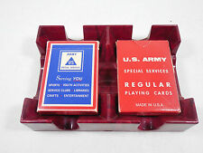 VINTAGE US ARMY SPECIAL SERVICES 2 DECKS REGULAR PLAYING CARDS RETRO DECOR GAMES