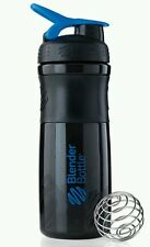 BLENDER BOTTLE SPORTS MIXER 28OZ BLACK BOTTLE W/BLUE TOP FREE AND FAST SHIPPING