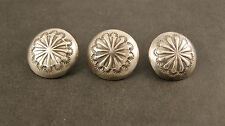 "Vintage Set of 3 Sterling Silver Hand Stamped Navajo Buttons 11/16"" Diameter"