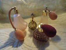 VINTAGE GLASS PINK  PURPLE PERFUME BOTTLES WITH ATOMIZER/IRICE IMPORT W. GERMANY