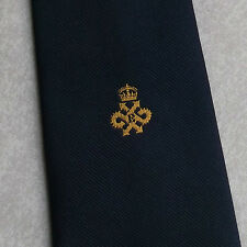 CLUB ASSOCIATION TIE VINTAGE 1970s 1980s NAVY CROWN E CREST EMBLEM MOTIF TOOTAL