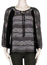 Fig and Flower Woman's Medium Black Multi Colored Panel Peasant Boho Blouse NWT