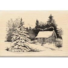 INKADINKADO RUBBER STAMPS SNOWY CABIN IN THE WOODS
