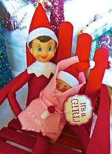 """""""ELFKIN"""" Baby Girl Red Bodied Christmas, North Pole, for sitting Elf  doll ."""