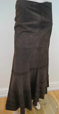 JIGSAW Brown 100% Suede Pleat Detail Flared Hemline Lined Maxi Skirt UK10 BNWT