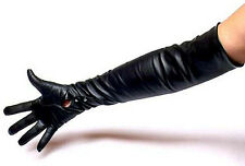 SEXY MISTRESS KID LEATHER OPERA GLOVES WITH BUTTONS - LEDERHANDSCHUHE