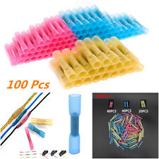 100pc Insulated 22-10 Heat Shrink Butt Electrical Wire Crimp Terminal Connectors