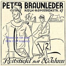 Riding boots Braunleder Cologne Germany german ad 1929 advertising polo hat xc +