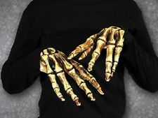 HALLOWEEN ADULT SKELETON BONES HANDS GLOVES MASK PROP