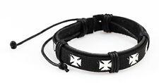 Echt Lederarmband eisernes Kreuz Rocker Armband Cyber