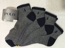Polo Ralph Lauren 4-Pair Quarter Crew Socks Speckled  w/Navy Trim   (7540)