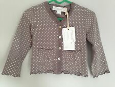 Chateau De Sable Baby Girls Cardigan 12-18 Months Brown White Bnwt Bamboo