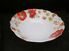 222 FIFTH RED GALA POPPY FLORAL VEGETABLE/SERVING BOWL FINE CHINA BRAND NEW