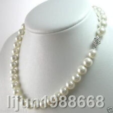 """AAAA 8mm White South Sea Shell Pearl Necklace 18"""""""