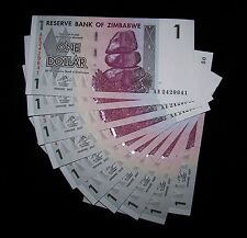 10 x Zimbabwe 1 dollar banknotes-Paper money currency bills