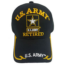 US MILITARY ARMY GOLD STAR Retired Black Hat Cap