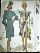 VTG McCalls 40's Misses Fitted Waist Yoked Dress WWII Pattern 6485 s14