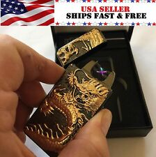 Gunmetal Dragon Dual Arc Electric USB Lighter Rechargeable Flameless Plasma Coil