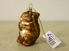 CATHERINE LILLYWHITE'S BLOWN GLASS SQUIRREL CHRISTMAS ORNAMENT W/ GLITTER NEW