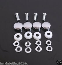 4 Pcs Chrome License Plate Frame Security Screw Bolt Caps Covers For Car Truck