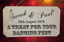 """PERSONALISED Shabby Chic Wedding """"A Treat For Your Dancing Feet"""" Sign, White"""