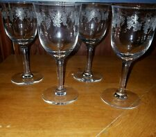 Crystal Etched Grape  Tulip Wine Glasses set of 4