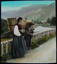 Glass Magic Lantern Slide SWISS PEASANTS C1890 PHOTO SWITZERLAND