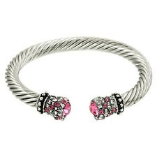 Crystal Tip Bracelet Twisted Metal Open Cuff Silver Pink Pave Stone Chunky Cable