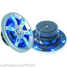 Coppia Casse Audio per Moto e Auto tonde Led Blu CM 10    2x200 Watt Max 2 Vie