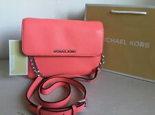 Michael Michael Kors Coral Leather Bedford Cross-Body Bag/Clutch - New With Tag