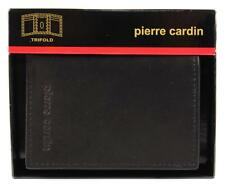 NEW NIB PIERRE CARDIN MEN'S LEATHER CREDIT CARD WALLET TRIFOLD BLACK 5976-01