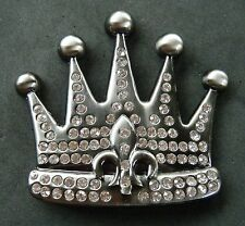 Royal Royalty Rhinestone Crown Fleur De Lys Lis Belt Buckle Boucle de Ceinture