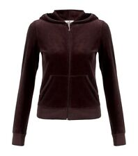 Nwt $98 Juicy Couture Original Zip Hoodie Velour Cotton Jacket ~Chestnut *XS