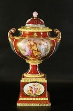 Germany Antique Royal Vienna Beautiful Porcelain Vase Hand-Painted With Gold.