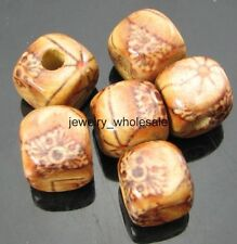30pcs 10x10mm Charm Square Wood Loose Spacer Beads