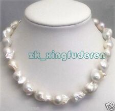 """Pretty Large 15-23mm Natural White Baroque genuine Pearl women's Necklace 18"""""""
