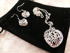 Large Stylish Silver Hollow Hearts Design Ladies Necklace & Earring Set