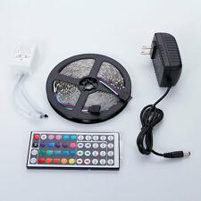 5M 3528 SMD RGB 300 LED Flexible Strip Light + Remote Control + 12V Power Supply