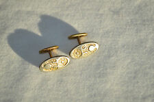 VINTAGE CUFFLINKS EMBOSSED / REPOUSSE NOUVEAU PRIMITIVE MOTIF SWIVEL BEAN BACK
