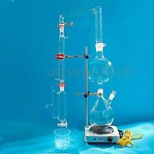 Essential Oil Steam Distillation Kit Laboratory Apparatus Condenser Glass Set
