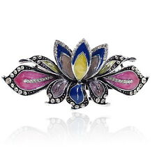BA27 Clear Crystal Rhinestone Colorful Painted Vintage Alloy Barrette Hair Clip