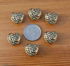 6 x VINTAGE GOLD HEART BUTTONS 14mm sewing craft dressmaking