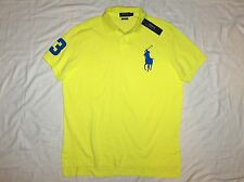 POLO RALPH LAUREN Custom Fit BIG PONY Mesh Polo Shirt, Neon Yellow, SMALL, nwt