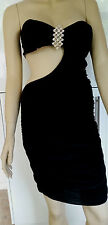 YOUNG BLOOD Cut Away Sleeveless Party Dress with Fixed Brooch  Size M/L NWT c20