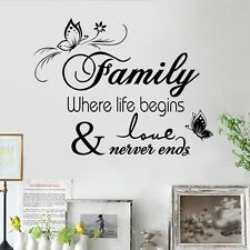 Family Where Life Begins Wall Quote Decals Removable Sticker Decor Vinyl Art