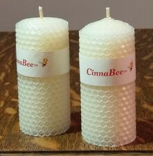 (2) - Iridescent White Meditation Candles -100% Natural Beeswax Pillar 4 inch