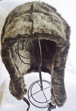 NEW! mens Sheepskin Shearling Russian Trapper Bomber Aviator Hat Real Leather