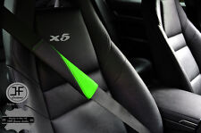 5X BLACK & LIGHT GREEN LEATHER TWO TONE LUXURY SHOULDER SEAT BELT PADDED PADS