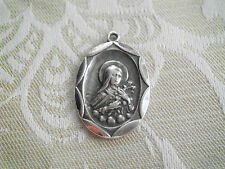 Vintage STERLING St Therese Religious Medal Charm