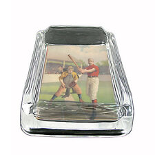 "Vintage Baseball D3 Glass Square Ashtray 4"" x 3"" Sports Baseball Player"